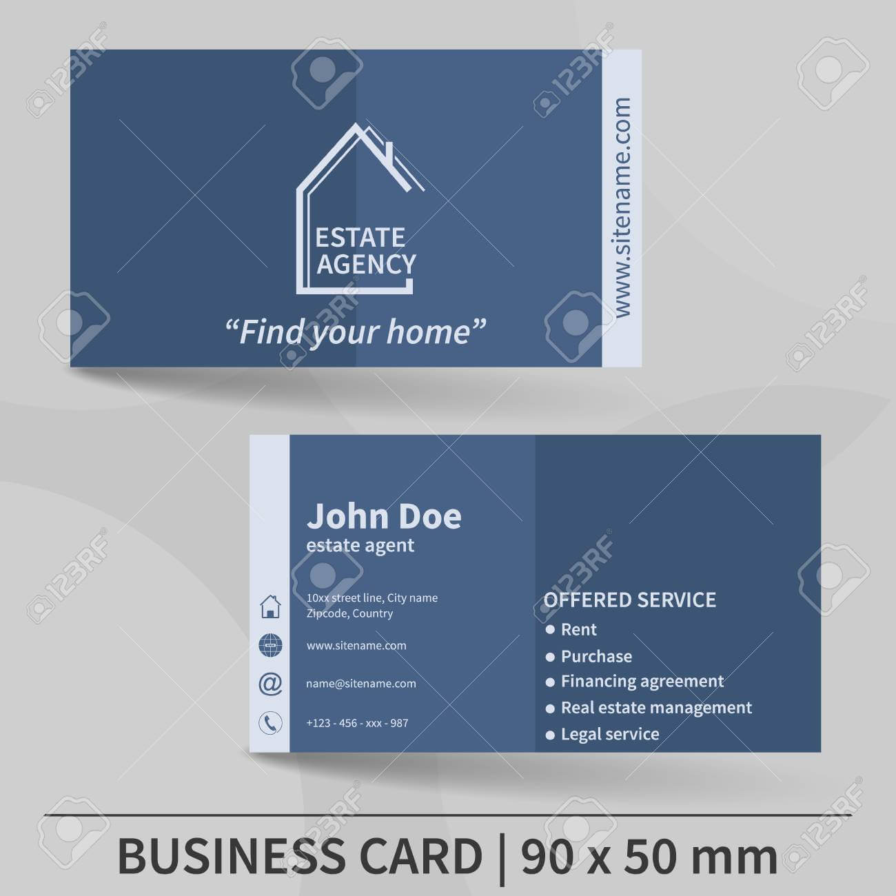 Business Card Template. Real Estate Agency. Design For Your Individual.. With Regard To Real Estate Agent Business Card Template
