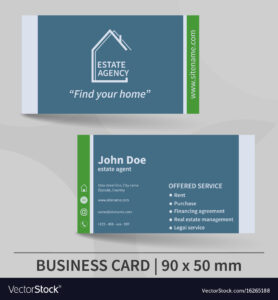 Business Card Template Real Estate Agency Design pertaining to Real Estate Agent Business Card Template