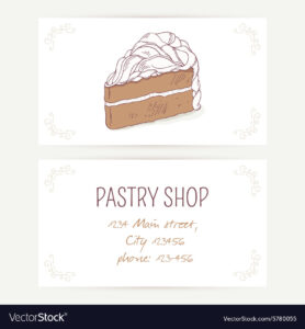 Business Card Template With Chocolate Cake in Cake Business Cards Templates Free