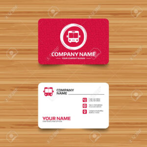 Business Card Template With Texture. Bus Sign Icon. Public Transport.. regarding Transport Business Cards Templates Free