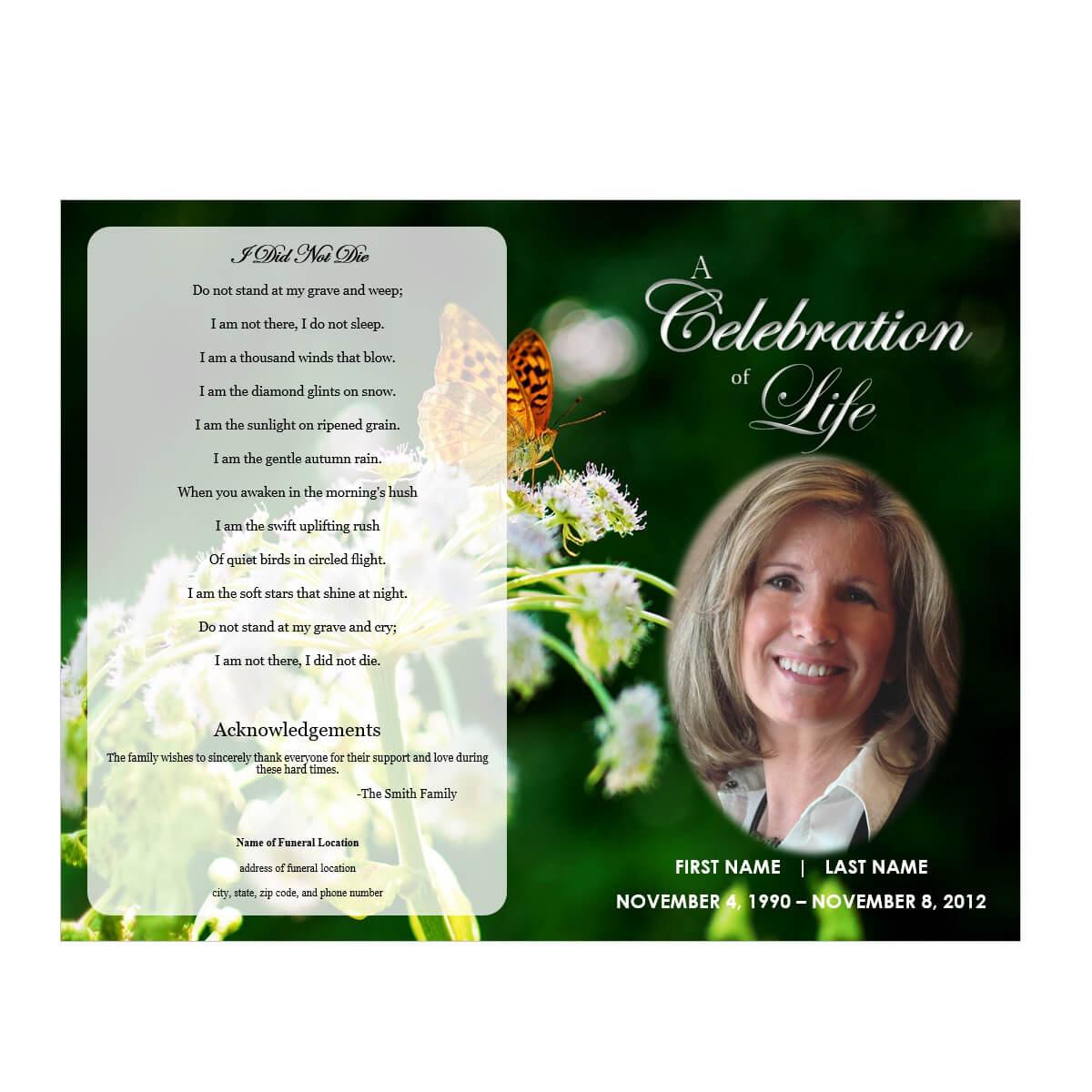 Butterfly Memorial Program For Memorial Brochure Template