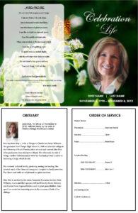 Butterfly Memorial Program | Memorials | Funeral Program for Memorial Card Template Word