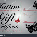 Butterfly Skull Tattoo Gift Card Gift Stock Vector (Royalty within Tattoo Gift Certificate Template