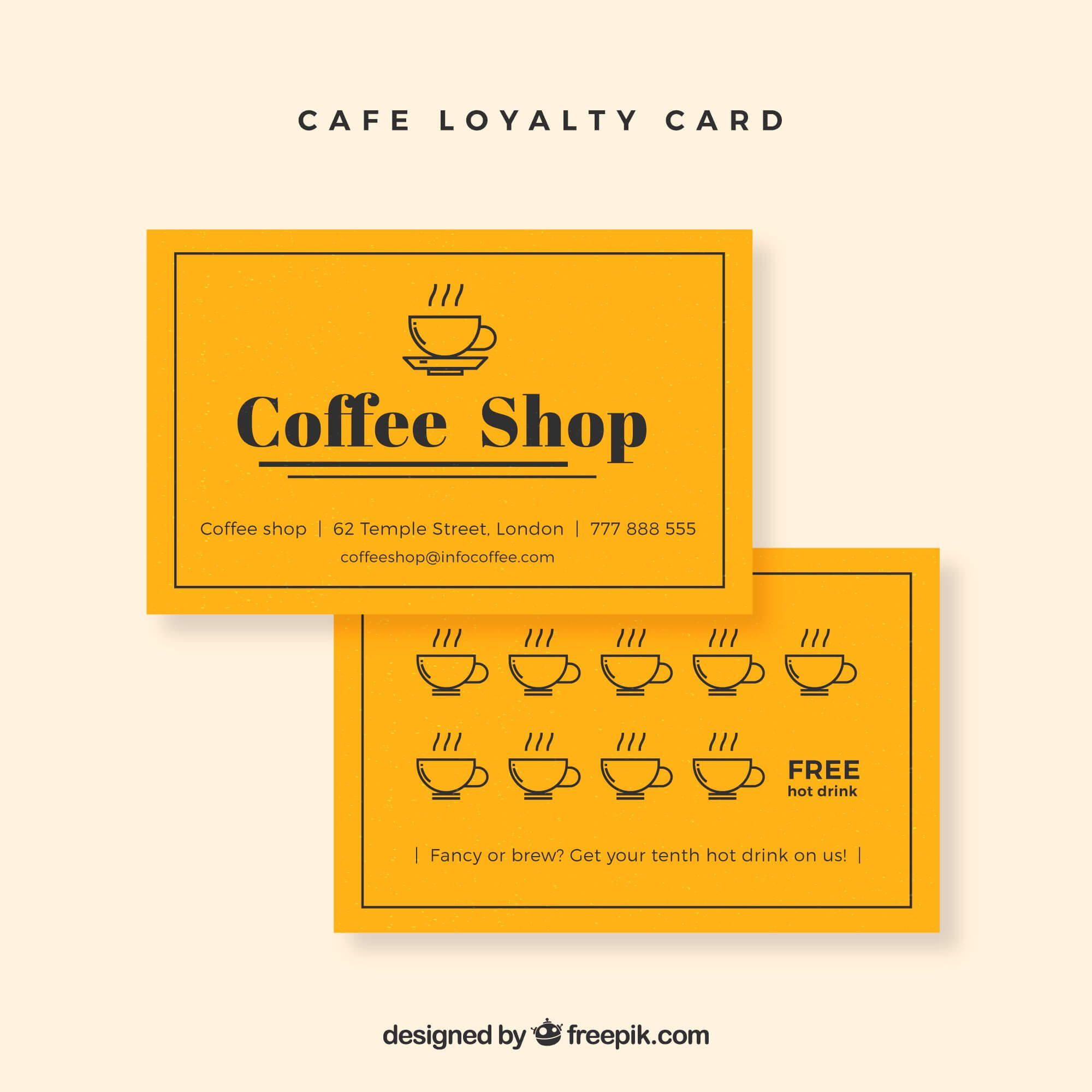 Cafe Loyalty Card | Business Cards | Loyalty Card Design Inside Loyalty Card Design Template