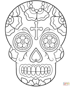 Calavera (Sugar Skull) Coloring Page | Free Printable throughout Blank Sugar Skull Template