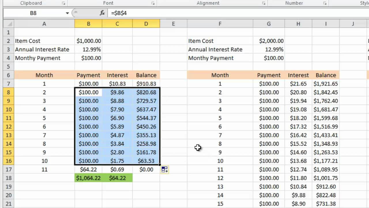 Calculating Credit Card Payments In Excel 2010 For Credit Card Interest Calculator Excel Template