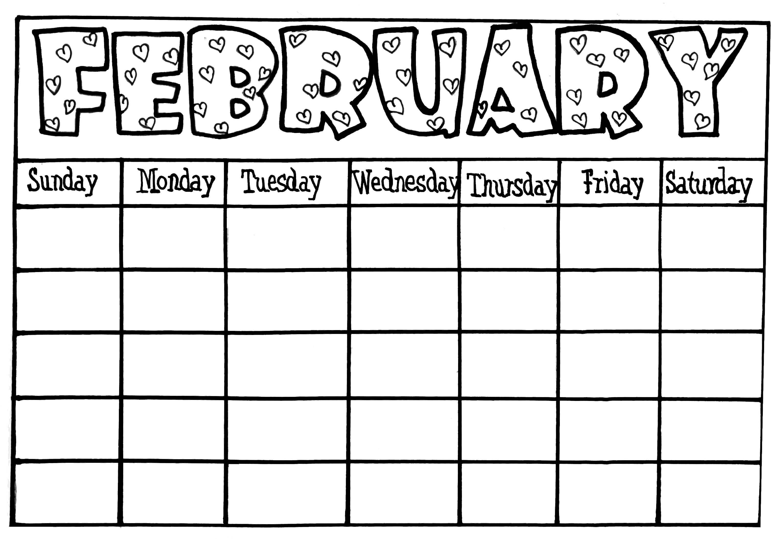 Calendar Template For Kids - Free Calendar Collection Throughout Blank Calendar Template For Kids