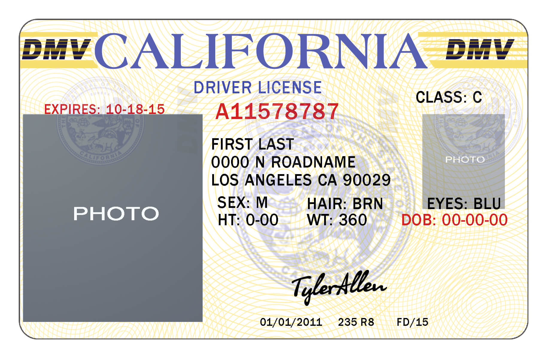 California Drivers License Template | California In 2019 Intended For Blank Drivers License Template
