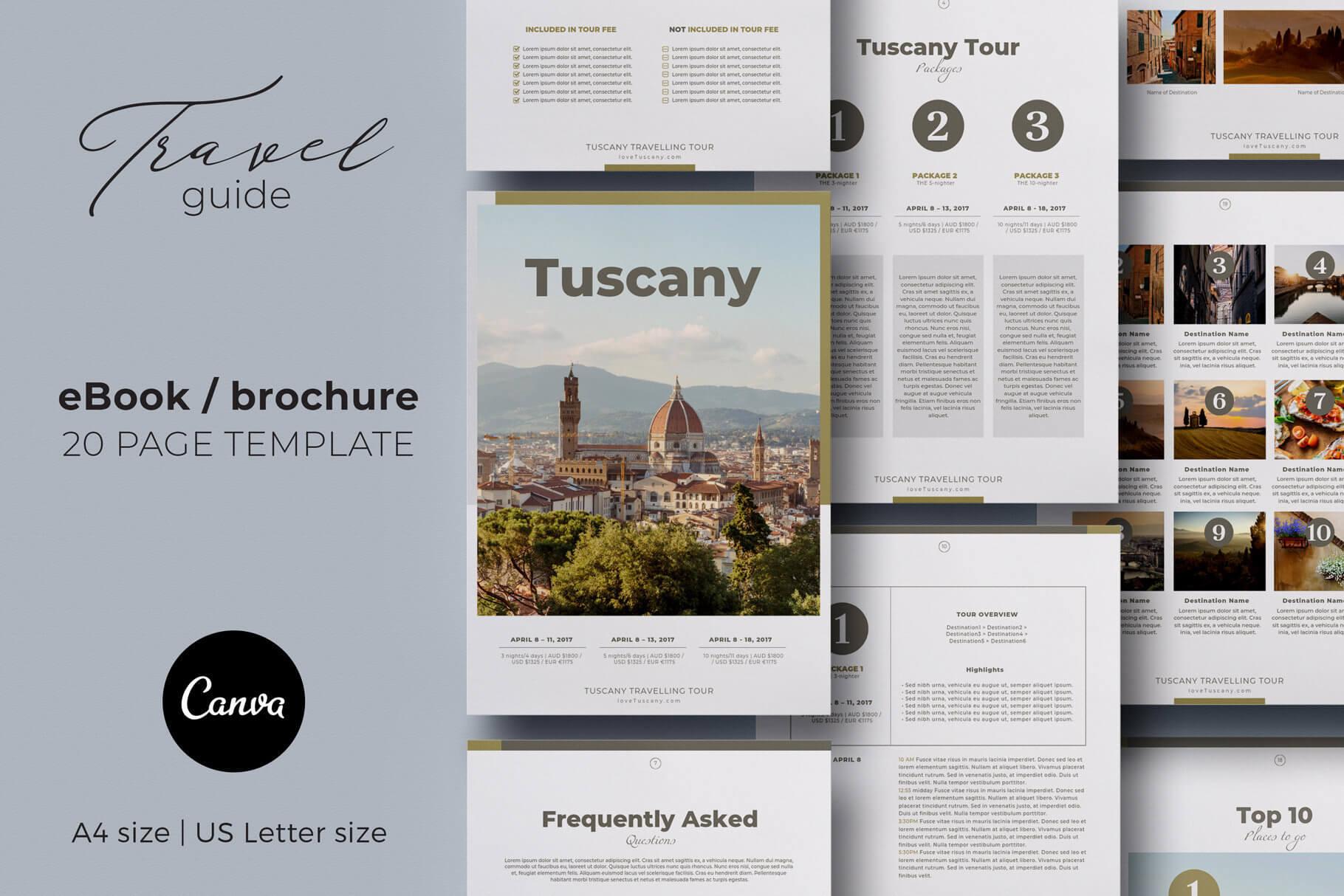 Canva Ebook / Brochure Travel Guide Template Intended For Travel Guide Brochure Template