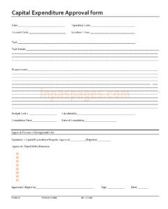 Capital Expenditure Approval Form Format within Capital Expenditure Report Template