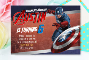 Captain America Invitation, Captain America Birthday, Avengers, Superhero,  Captain America Card , Captain America Invite for Avengers Birthday Card Template