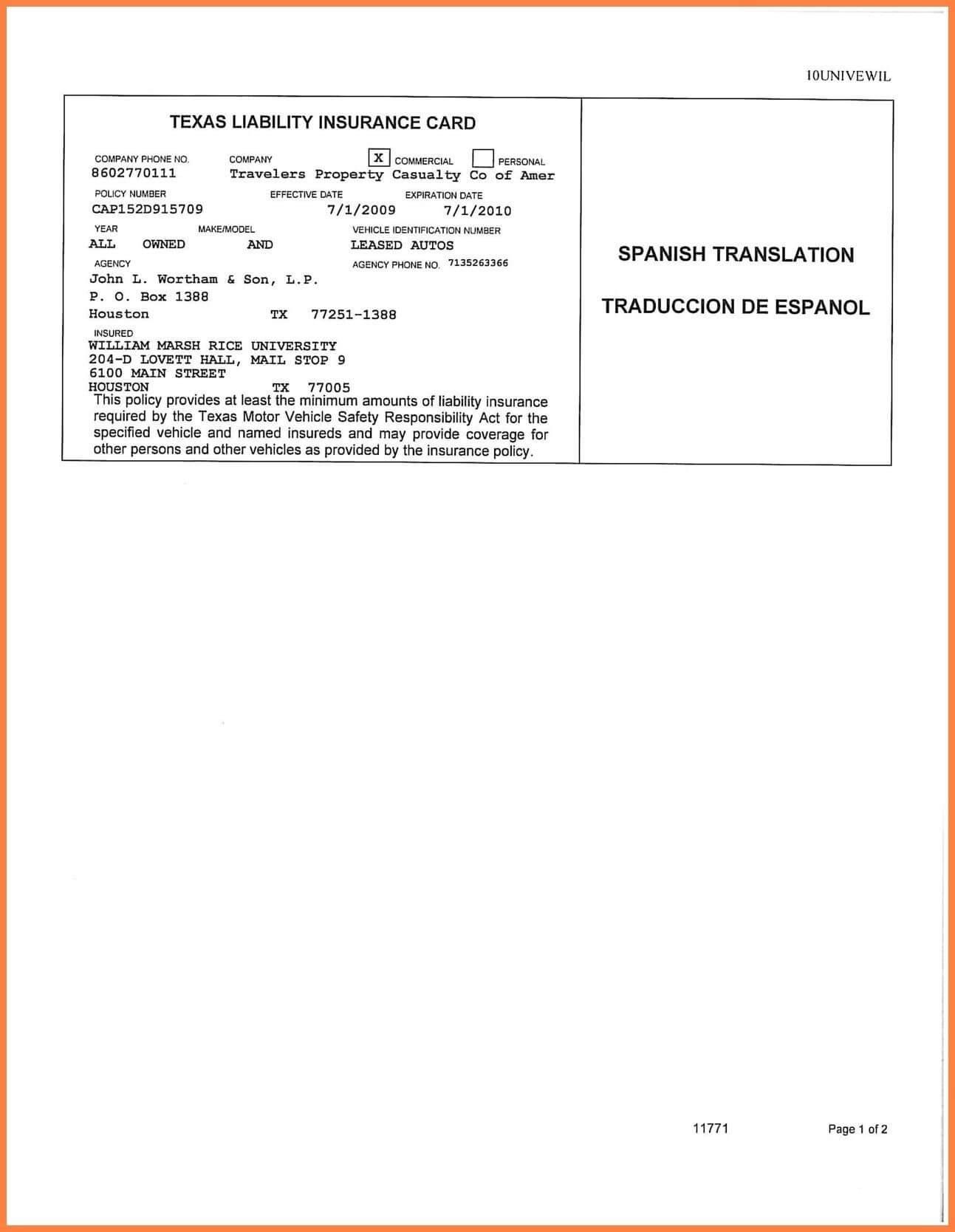 Car Insurance Card Template Free Auto Insurance Card Regarding Auto Insurance Id Card Template