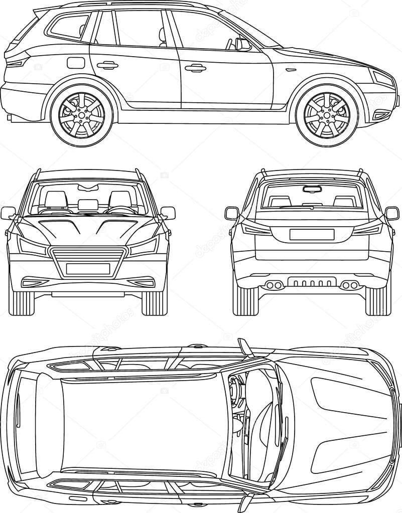Car Suv, 4X4, Line Draw, Rent Damage, Condition Report Form Regarding Truck Condition Report Template
