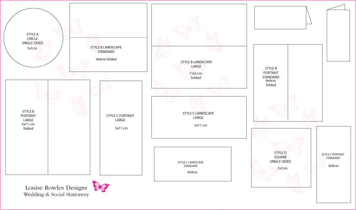 Card Dimensions | Place Cards Sizes & Layouts » Louise Inside Place Card Size Template