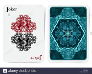 Card Face Of Joker With Thistle Plant Pattern Inside With with Joker Card Template