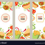 Cartoon Flat Fast Food Banner Template Set In Food Banner Template