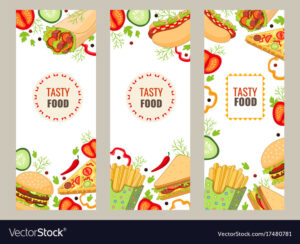 Cartoon Flat Fast Food Banner Template Set in Food Banner Template