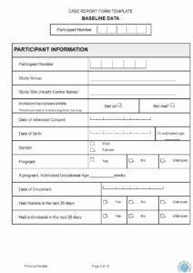 Case Report Form Template Unique 12 Case Report Form Samples within Case Report Form Template