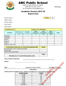 Cbse Report Card Sample Of Class 9Th & 10Th | New Format 2017-18 pertaining to Result Card Template