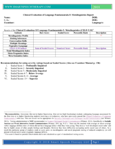 Celf 5 Report Template pertaining to Speech And Language Report Template