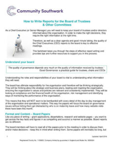 Ceo Report To Board Of Directors Template Templates in Report To Senior Management Template