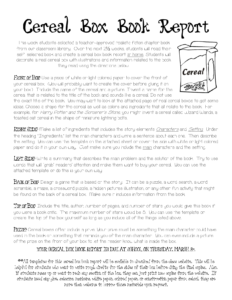 Cereal Box Book Report Instructions | Cereal Box Book Report Throughout Cereal Box Book Report Template