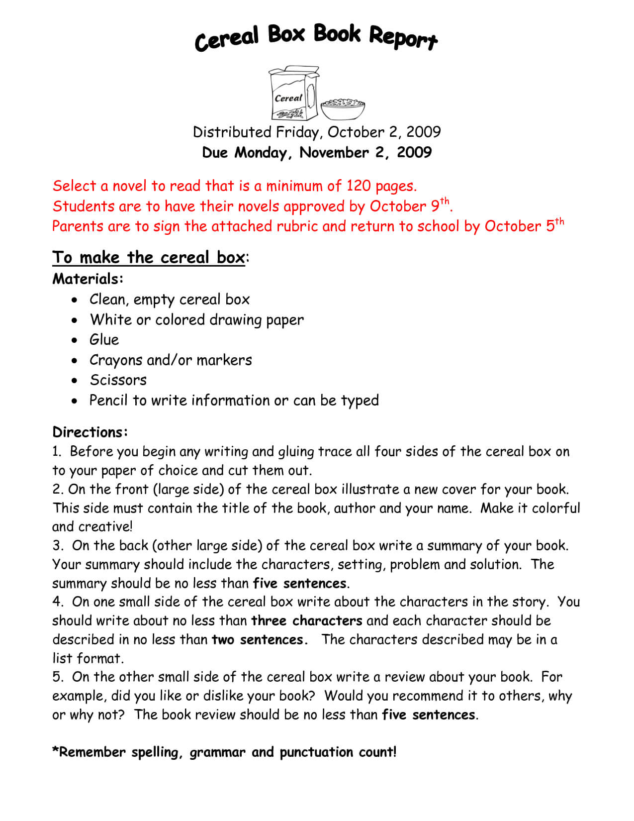 Cereal Box Book Report Samples Instructions For Reports With Regard To Cereal Box Book Report Template