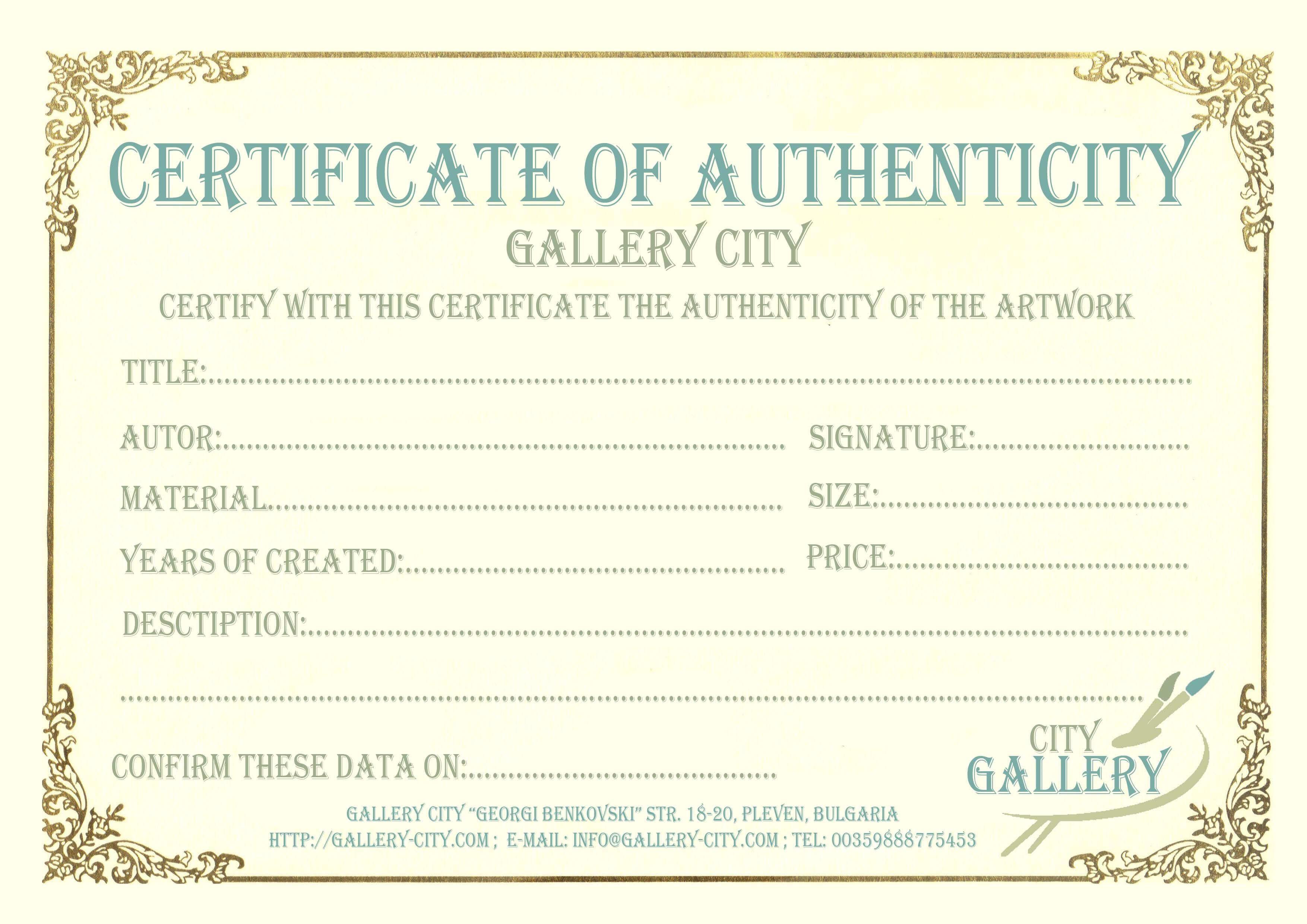 Certificate Authenticity Template Art Authenticity For Certificate Of Authenticity Template
