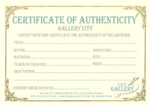 Certificate Authenticity Template Art Authenticity Intended For Free Art Certificate Templates