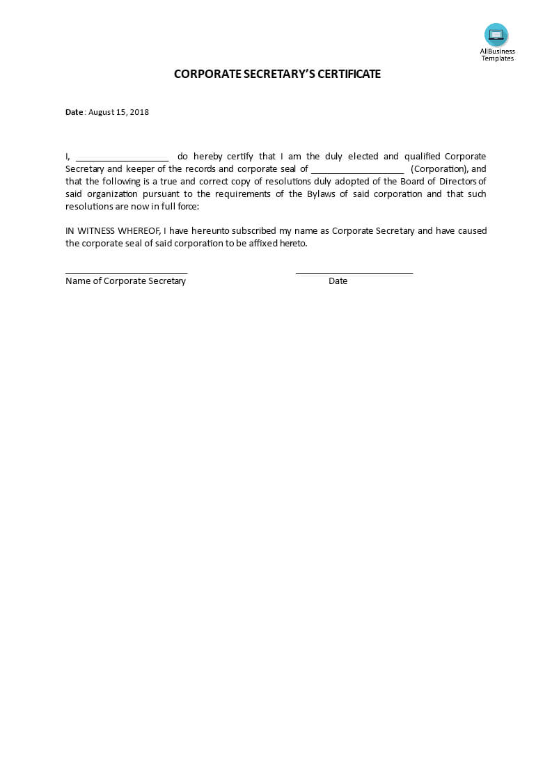 Certificate, Corporate Secretary's | Templates At Pertaining To Corporate Secretary Certificate Template