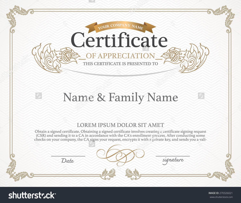 Certificate Design Template. Thai Art Design. Stock Vector In Art Certificate Template Free