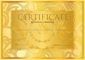 Certificate, Diploma (Golden Design Template, Colorful Background).. inside Certificate Scroll Template