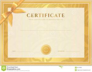 Certificate, Diploma Template. Gold Award Pattern Stock inside Certificate Scroll Template