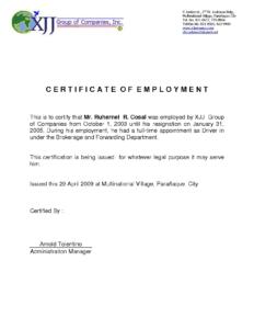 Certificate Employment Template 13 – Elsik Blue Cetane throughout Template Of Certificate Of Employment