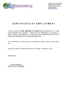 Certificate Employment Template 13 – Elsik Blue Cetane With Regard To Sample Certificate Employment Template