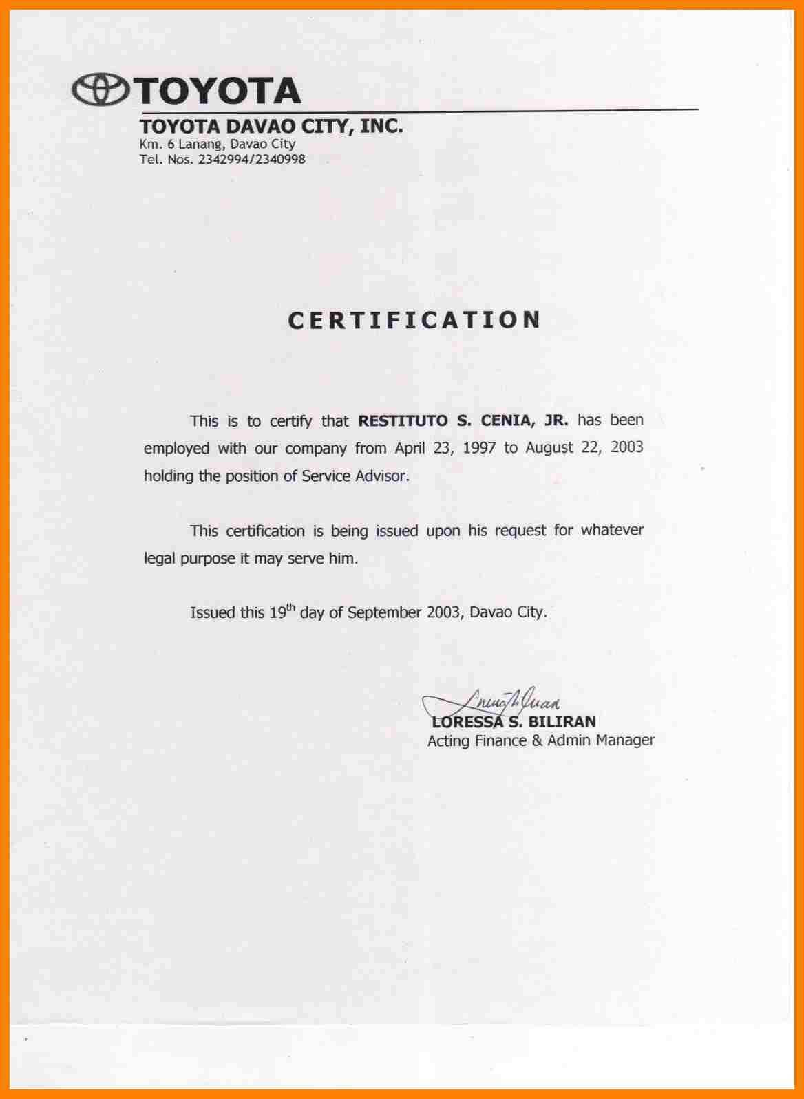Certificate Employment Template 5 – Elsik Blue Cetane Throughout Sample Certificate Employment Template
