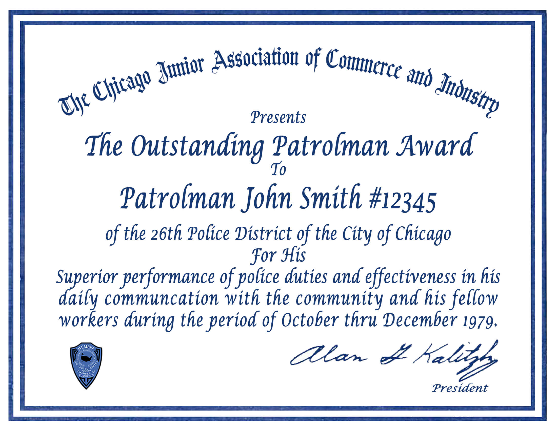Certificate & Letter Awards | Chicagocop With Regard To Life Saving Award Certificate Template