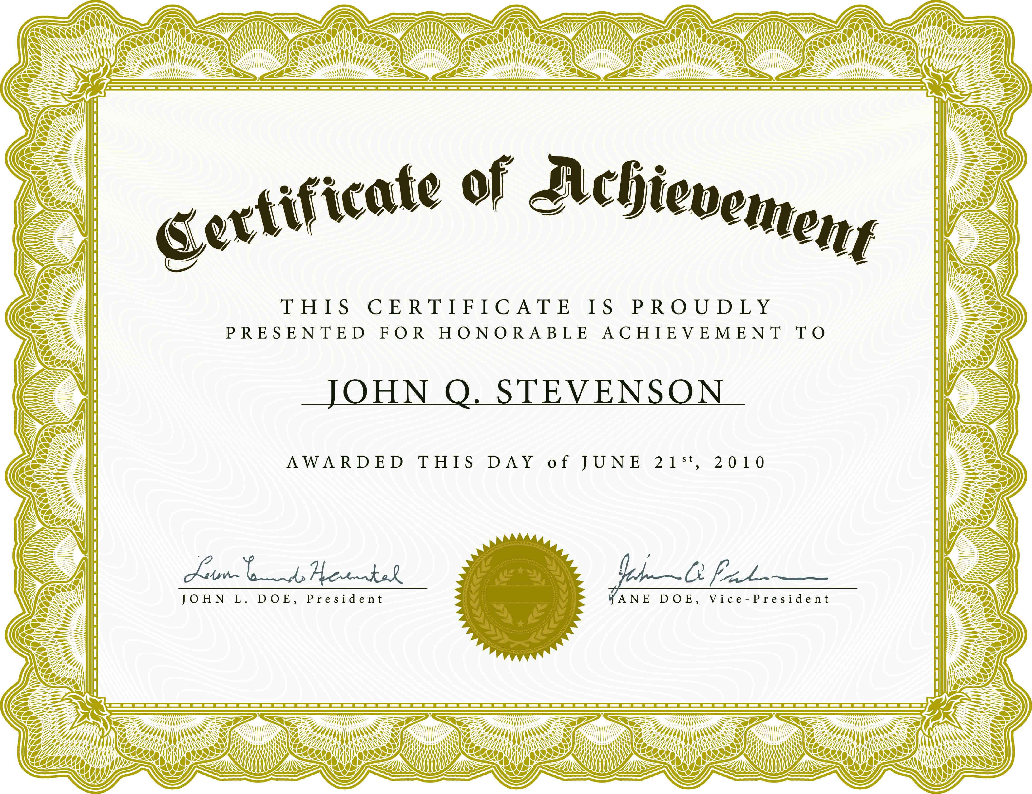 Certificate Of Academic Achievement Template | Photo Stock Inside Free Completion Certificate Templates For Word