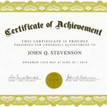 Certificate Of Academic Achievement Template | Photo Stock Intended For Blank Certificate Templates Free Download