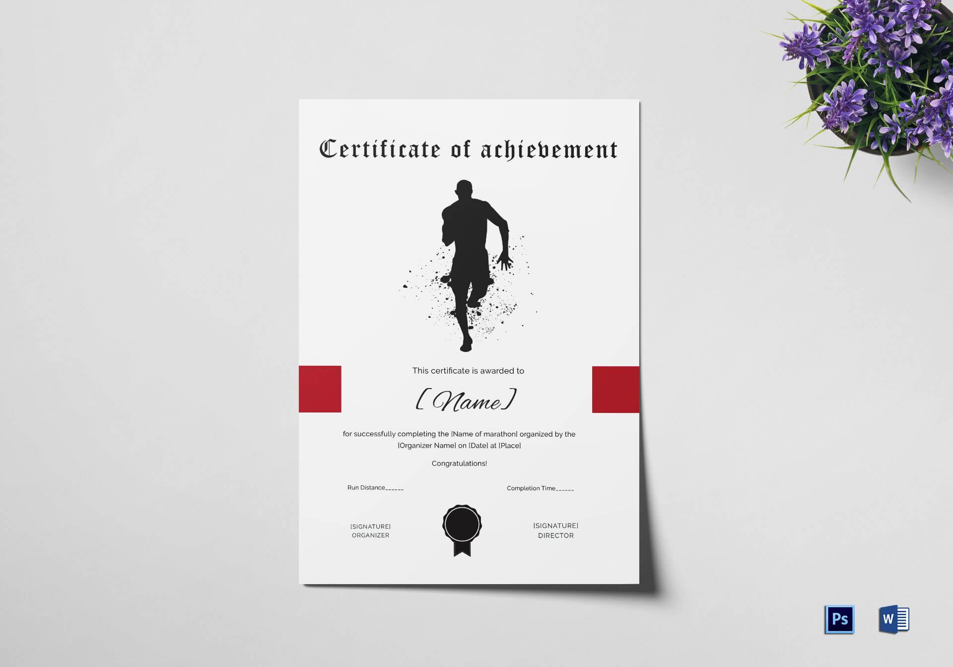 Certificate Of Achievement For Running Template For Walking Certificate Templates