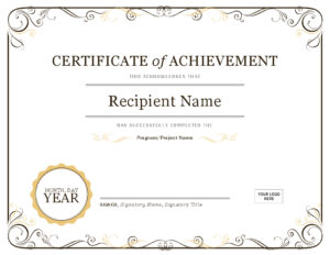 Certificate Of Achievement in Certificate Of Excellence Template Word