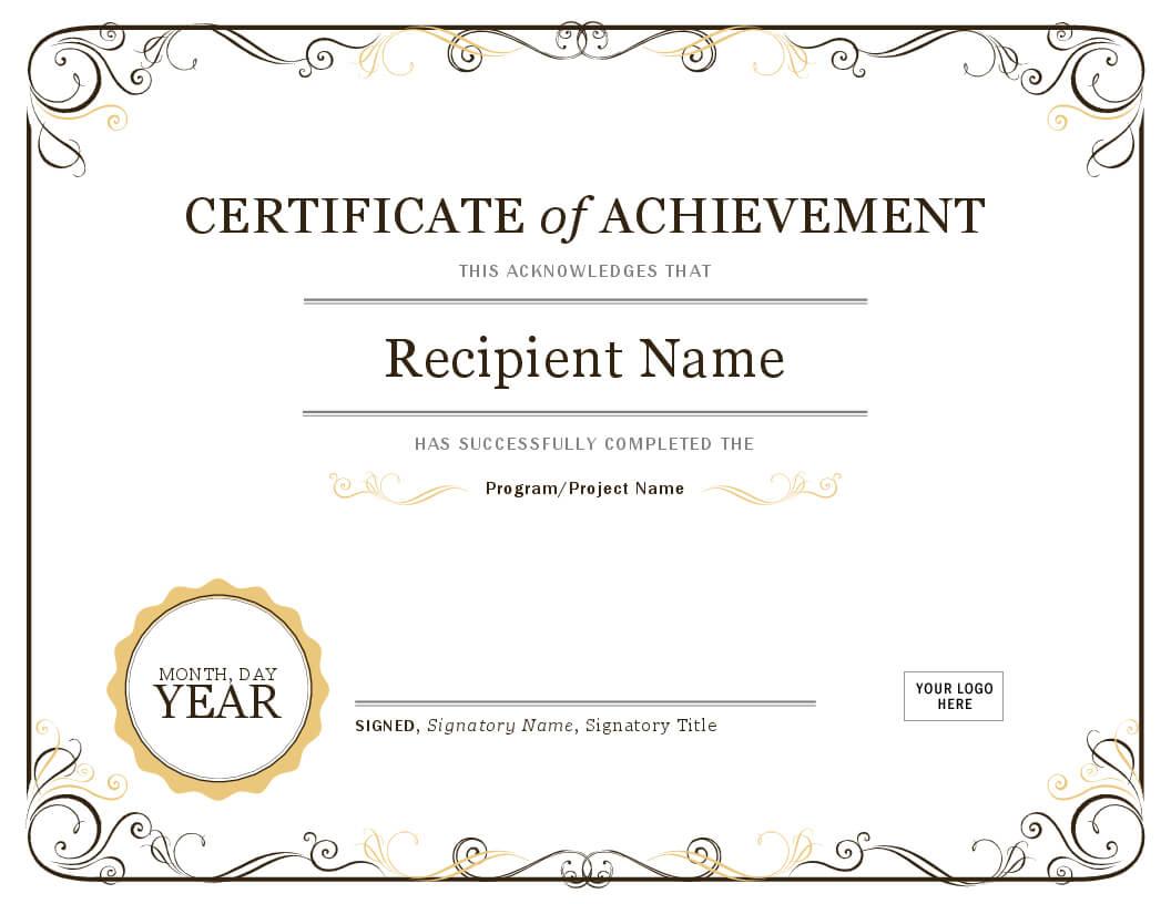 Certificate Of Achievement In Microsoft Word Certificate Templates