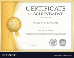 Certificate Of Achievement Template Gold pertaining to Certificate Of Accomplishment Template Free