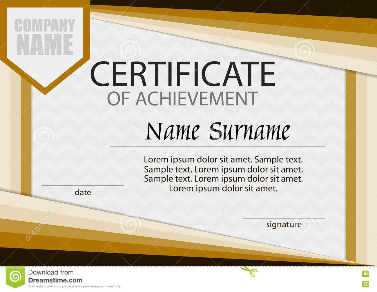 Certificate Of Achievement Template. Horizontal. Stock Within Certificate Of Attainment Template