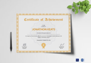 Certificate Of Achievement Template with Word Template Certificate Of Achievement