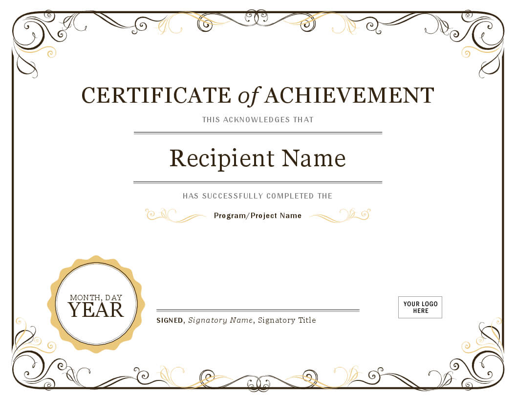 Certificate Of Achievement Throughout Certificate Of Achievement Template Word