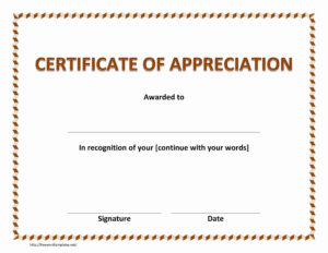 Certificate Of Appreciation Template Free Download In Word for Certificate Of Excellence Template Free Download