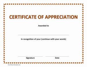 Certificate Of Appreciation Template Free Download In Word In Thanks Certificate Template