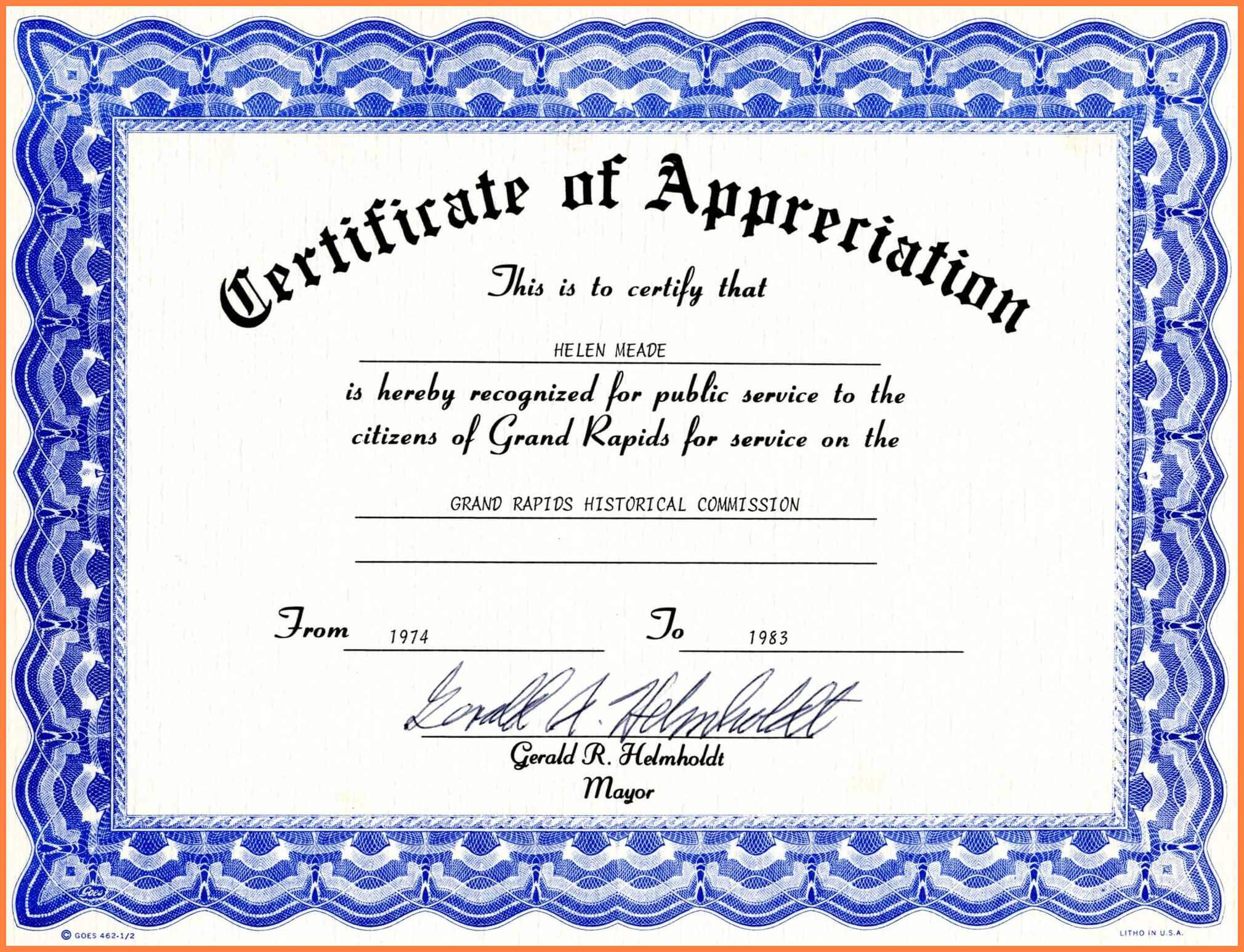 Certificate Of Appreciation Template Word Free Download Throughout Microsoft Word Certificate Templates