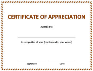 Certificate Of Appreciation Within Template For Certificate Of Appreciation In Microsoft Word